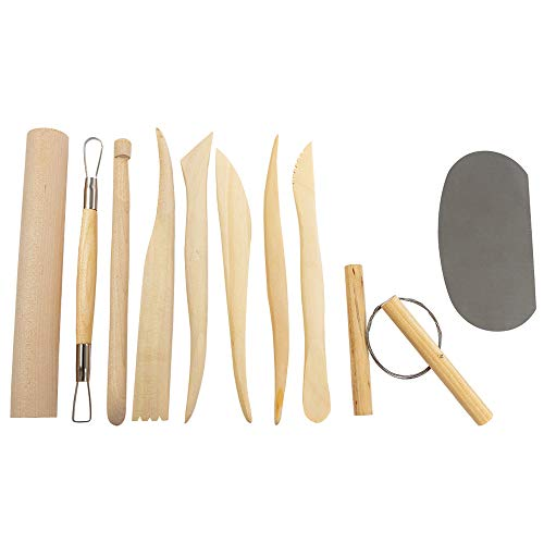 DUJEN Set of 10 Pieces Pottery Clay Tools, Wooden Sculpting Tool Sets for Clay, Modeling Clay Tools Kit