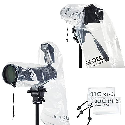 Cubierta de lluvia para cámara, protector impermeable para cámara Canon Nikon Sony DSLR con lente (11 pulgadas de largo, 7 pulgadas de ancho) y flash externo de zapata caliente (2 piezas - 2 tipos)