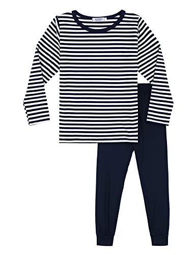 Bricnat Schlafanzug Jungen 104 110 Lang Zweiteilig Pyjama Junge Kinder Langarm Blau Gestreift Kinder Nachtwäsche Herbst Winter