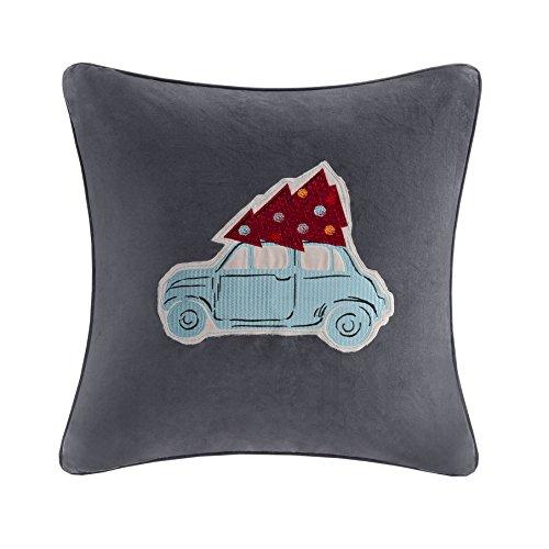 Madison Park MP30-2180 Velvet Holiday Drive Square Pillow, 20x20, Grey