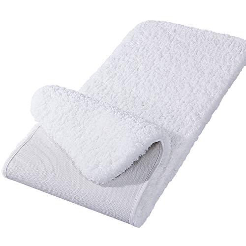 Lifewit Bathroom Runner Rug Bath Mat 59'x20' Non-Slip Soft Long Shower Rug Plush Microfiber Water Absorbent Carpet Thick Shaggy Luxury Floor Mats, Machine Washable, White