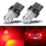 iBrightstar Newest 9-30V Super Bright Low Power 7440 7443 T20 LED Bulbs with Projector replacement for Tail Brake Lights Turn signal Lights, Brilliant Red