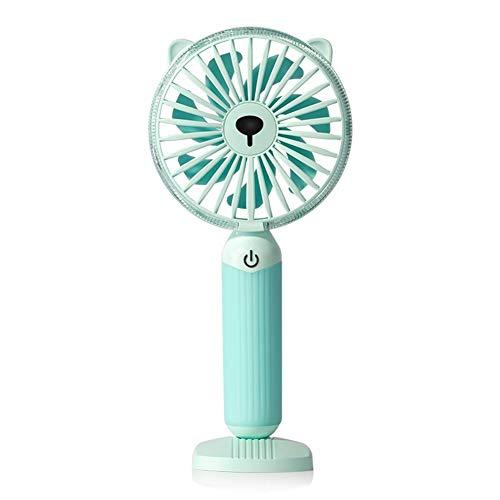 Ventilatore USB LED Luce notturna Ventilatore portatile 7 pale 3 velocità del vento Ventilatore estivo Raffreddamento sul comodino (Color : Green)