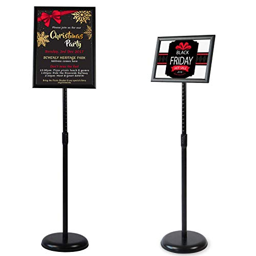 VAIIGO A3 Poster Menu Supporto Espositore Regolabile in Acciaio INOX Sostituibile Pubblicit Rack Sign Stand, Nero
