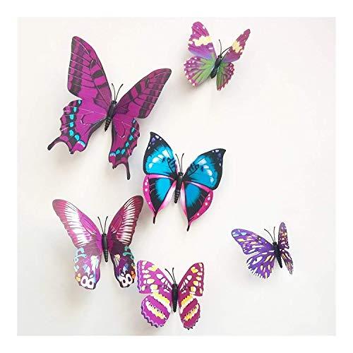 12 pegatinas de mariposa 3D para decoración de pared, decoración de casa, decoración de cuarto de bebé, color morado