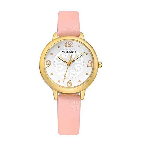 DECTN Armbanduhr Neue kleine Uhr Tisch damenuhr Mode hundert Casual gürtel Quarz damenuhr nackten rosa