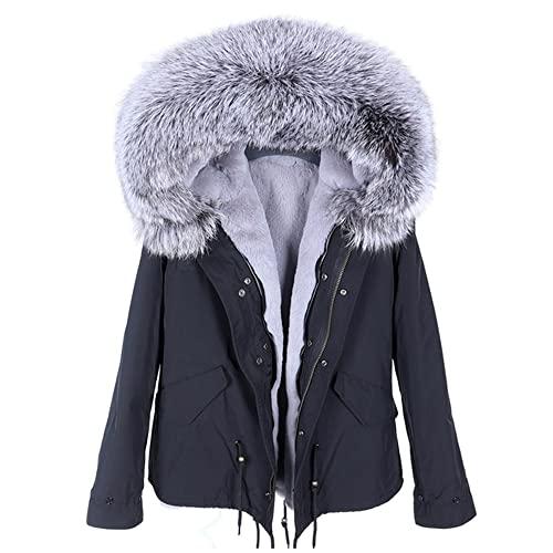 Giubbotto bomber parka invernale con collo di pelliccia di procione naturale con collo in vera pelliccia da donna alla moda - 27,XXL