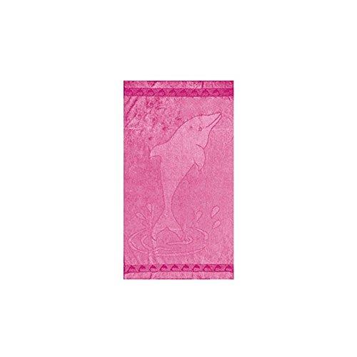 Soleil d'Ocre DRAP DE PLAGE 95x175 cm DAUPHIN FUSHIA VELOURS JACQUARD 100% COTON