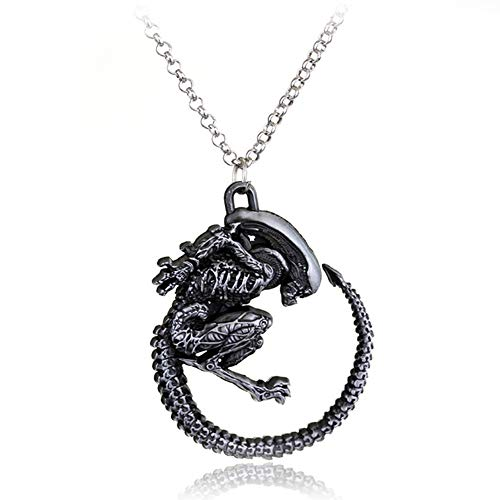 Men's necklace Warrior Alien Necklace Predator Avp Alien Queen Pendant Goth Horror Giger Cool Necklaces For Men Fashion Jewelry Accessories