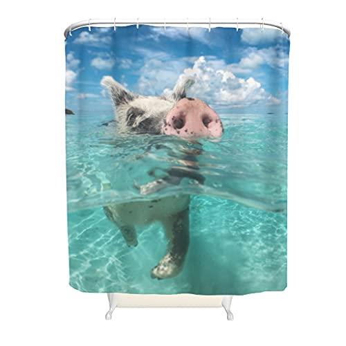 Wandlovers Premium Duschvorhang Schwimmendes Schwein Druck Cool Bad Duschvorhang mit Plastikringschnallen für Badewannenduschen white 200x200cm