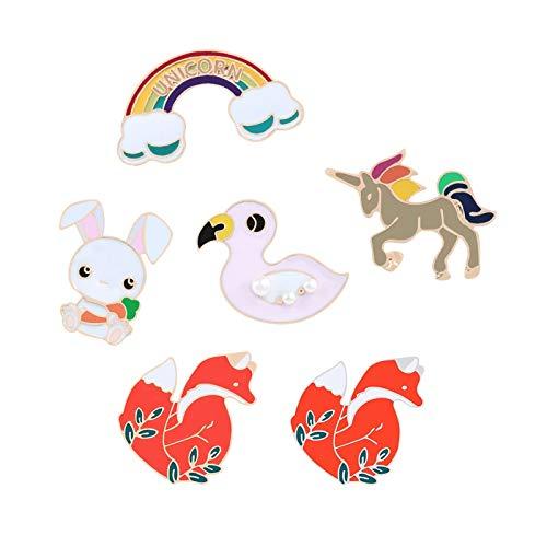 ZSCZQ Esmalte de Dibujos Animados KPOP Broches Pines Red Fox Duck Cloud Rabbit Horse Chaquetas Pin de Solapa Bolsa Icono Insignia Mujeres Joyería Regalos para niños
