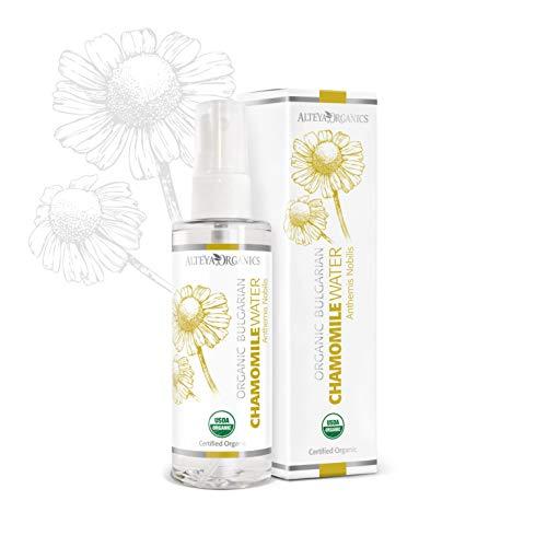 Alteya Organic Pulvérisateur d'eau de camomille 100 ml - Certifié organique par USDA Pure Bio Eau Naturelle Florale Distillé à la vapeur à partir de fleurs fraîches cueillies à la main de Anthemis Nobilis - Éclairant, Hydratant, Apaisant et Calmant