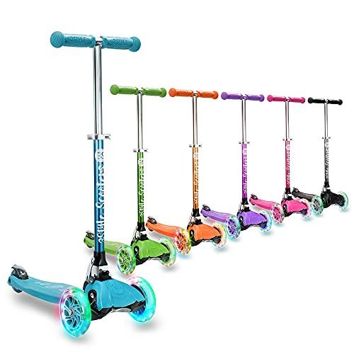 3StyleScooters® RGS-1 Små barn trehjulsscooter – perfekt för barn över 3 år och med LED-upplysta hjul, hopfällbar design, justerbara handtag och lätt konstruktion (Blå)