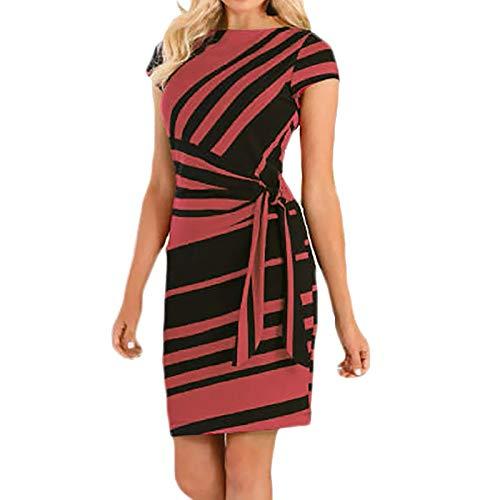YANFANG Vestido Mujer Informal,Vestido Casual De Vestidos Trabajo Fiesta A Rayas LáPiz Mini con Lazo,Vestido Verano para Mujer, Estilo Bohemio, Retro, Verano,Negro,Rojo,Azul,S,M,L,XL