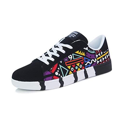 Skxinn Herren Junge Graffiti Sportschuhe Casual Lace-Up Colorfor Canvas Sneakers Schnürschuhe Mode Herrenschuhe Bequem Atmungsaktiv Gr 39-44(Schwarz,43 EU)
