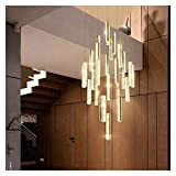 YLJYJ Durable Hanging Lamp Staircase Lights Crystal Chandelier in The Lobby Long Creative Thermocline Floor Restaurant Lights Pendant Lamp