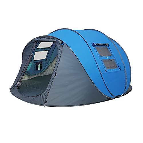 LIVHOOU Tienda de Campaña Impermeable Refugio de Sol al Aire Libre para 3-4 Personas,Tienda de Playa Portátil con Protección UV, para Familiar Playa Camping Senderismo Montañismo Azul