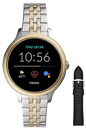 Fossil Smartwatch GEN 5E Connected da Donna con Wear OS by Google, Notifiche per Smartphone e NFC, con Cinturino in Acciaio Inossidabile Bicolore+Cinturino in Pelle e Silicone per Orologio, Nero