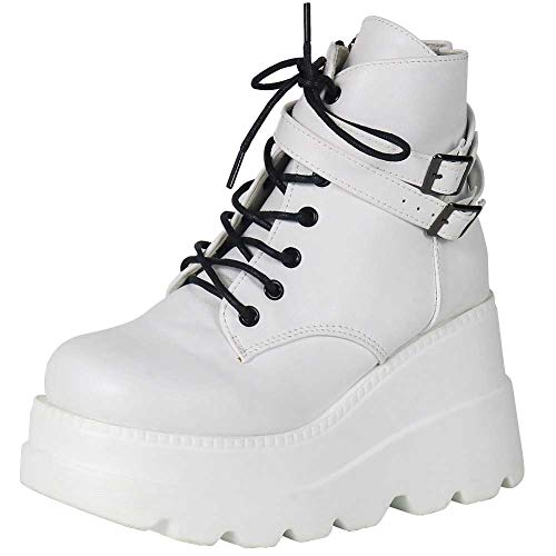 celnepho Women's Ankle Booties High Heel Lace up,Side Zipper Outdoor Round Toe Platform Waterproof Boots White