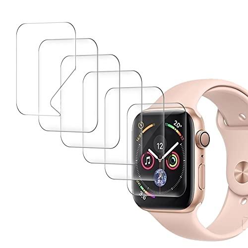 UniqueMe [6 pièces Compatible avec Apple Watch Series (6/4/5) / Apple Watch Se 44mm / 42mm (séries 3/2/1) Protection écran, [Installation Facile] [Film Flexible] Soft HD TPU Clear Film