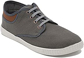 Squadra Textile Contrast Collar Mid-Top Lace-Up Fashion Sneakers for Men - Grey, 44
