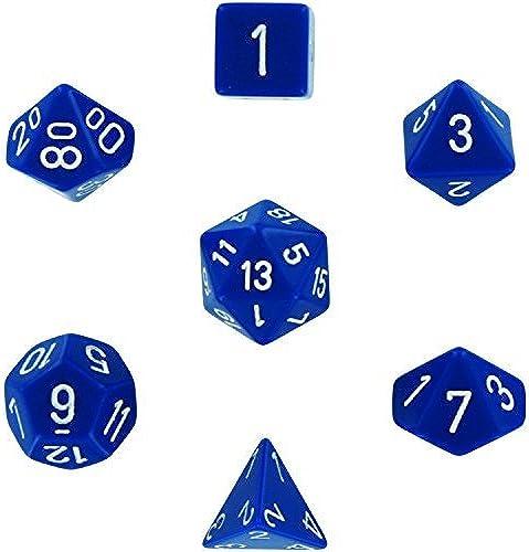 Chessex Polyhedral 7-Die Opaque Dice Set - Blau with Weiß