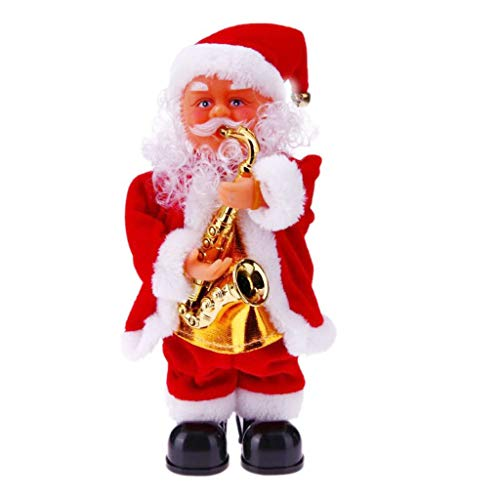 Perfeclan 27cm Tall Standing Animated Musical Dancing Santa Claus Christmas Figurine - A