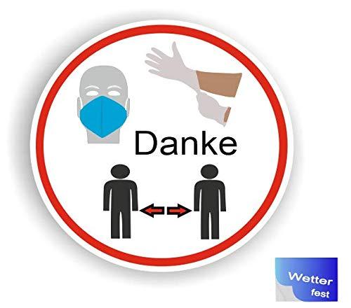 Generisch 1 Stück Handschuhe tragen Mundschutz Abstand halten Sicherheits Symbol Aufkleber Abziehbild (R50/2) W (15cm)