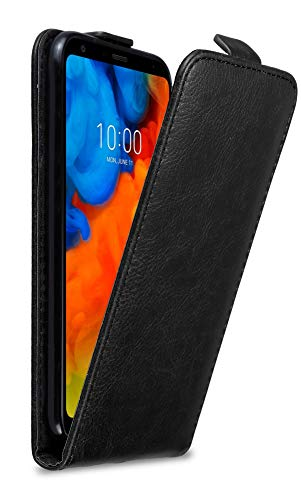 Cadorabo Hülle für LG Q Stylus in Nacht SCHWARZ - Handyhülle im Flip Design mit Magnetverschluss - Hülle Cover Schutzhülle Etui Tasche Book Klapp Style