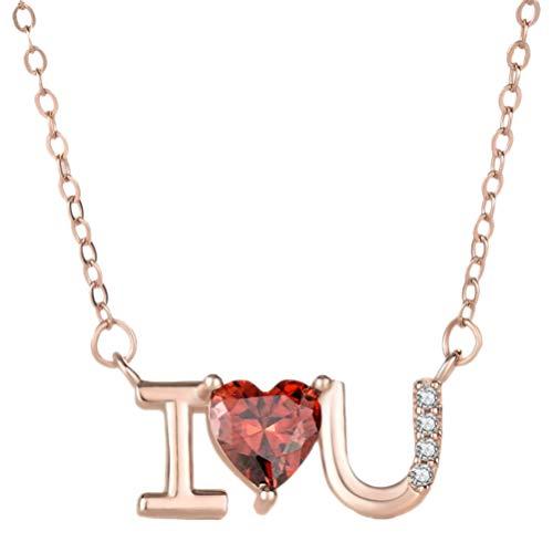 Amosfun I Love You Hart Hanger Ketting met Kristallen Hart Diamant Ornament voor Meisjes Valentijnsdag Sieraden (Rose Gold)