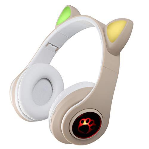 Auriculares inalámbricos Cat Ear, Auriculares Bluetooth5.0 Auriculares Cat Ear, con Luces LED/Micrófono para PC/Laptop/Teléfono, Auriculares Anime Gamer