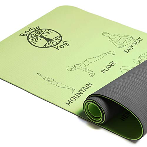 Bodie Yogi Non Slip Fitness TPE Instructional Yoga Mat W Illustrated Poses, Eco Friendly, Non-Toxic, 24 X 72, 6mm Thick (Lime Green)