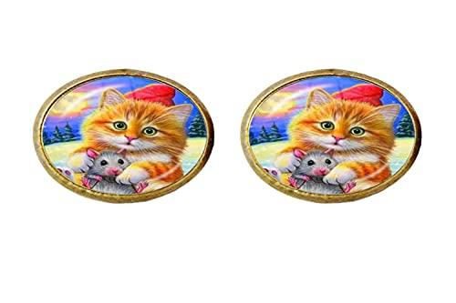 Art Charm - Pendientes de cristal con diseño de gato