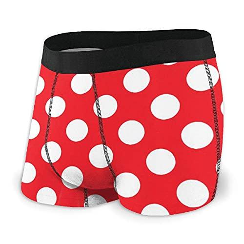 Lunares Rojos y Blancos para Hombre, lencería Sexy con Estampado Divertido, Calzoncillos Tipo bóxer, Ropa Interior, Bragas