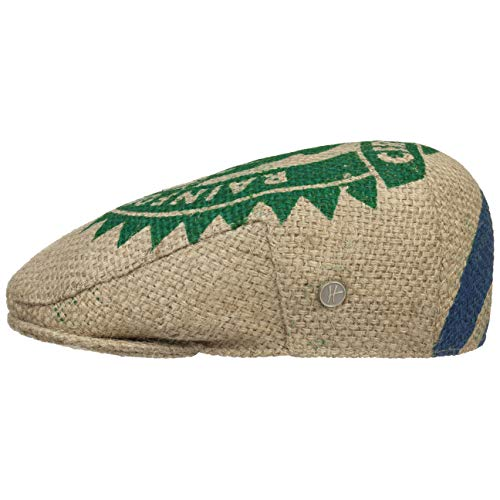 ReHats Cafe Espresso Frog Flatcap Schirmmütze Jutemütze Nachhaltig Mütze Schiebermütze Kaffeemütze Cap Sommercap (58 cm - Natur-grün)