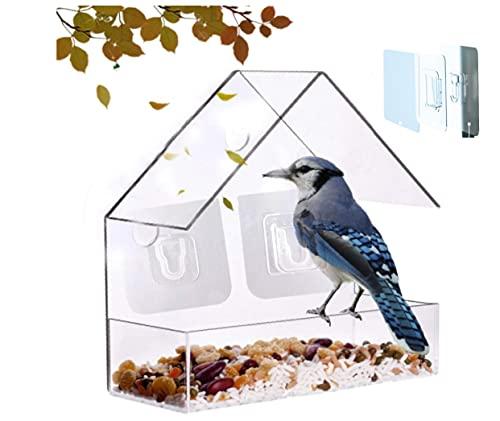 Window Bird Feeder Hanging- Extra Sturdy Wall Self-adhesive Hook Clear Acrylic Window Bird Feeder Wild Bird Feeder Hanging Bird House Seed Tray for Indoor Bird Watching, 2021 (Triangle)