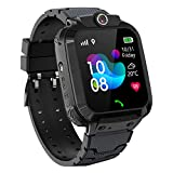 PTHTECHUS Kinder GPS Intelligente Uhr Wasserdicht, Smartwatch GPS Tracker mit Kinder SOS Handy Touchscreen Spiel Kamera Voice Chat Wecker für Jungen Mädchen Student Geschenk (S12 GPS Schwarz)