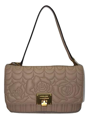 MICHAEL Michael Kors Vivianne Large Clutch Top Flap Fold Closure with lock, hardware details in brass gold, Ultra soft calf quilted leather, Detachable Shoulder strap in leather Interior : 1 top zip compartment, 1 open compartment with zipped pocket,...