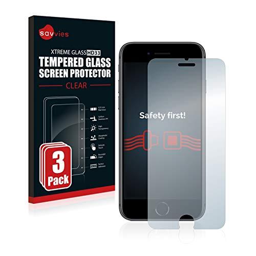 Savvies Panzerglas kompatibel mit Apple iPhone 8 (3 Stück) - Echt-Glas, 9H Festigkeit, Anti-Fingerprint