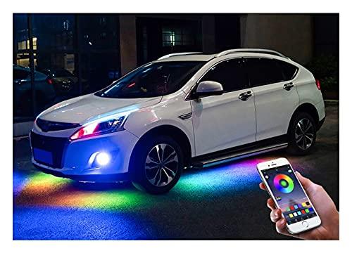 4 unids 12V IP65 Aplicación Bluetooth Control RGB LED Strip Under Coche 60 90 90 120 cm Tubo Producto DE Producto Sistema DE Neon DE BEDIDAD (Emitting Color : Flowing 60x4-150x2)