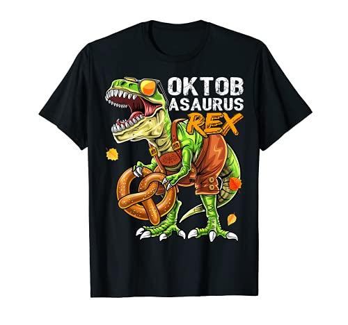 Oktoberfest Dinosaurier Lederhose Bayerisch Kostüm Geschenk Kinder T-Shirt