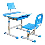 Vixzero Table and Chair Set for Children with Tiltable Eye Protection Desktop, Maximum Storage Capacity, Height-adjustable Desk for Children From 3 To 15 Years