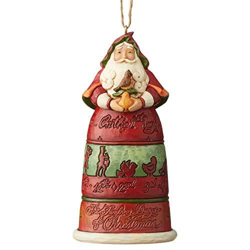 Jim Shore Heartwood Creek Sospensione Babbo Natale con 12 Giorni di Natale, 11.5 cm