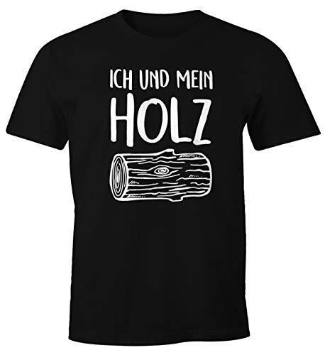 MoonWorks Herren T-Shirt Ich und Mein Holz Fun-Shirt schwarz L