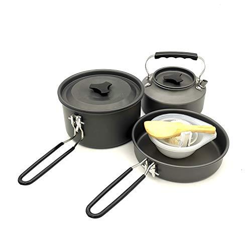 CYSHAKE Portátil Pote Que acampa Plegable portátil Combinación Olla y una Tetera Barbacoa Pot Set Cocina portátil