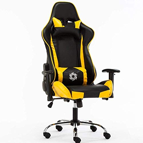 Rollsnownow Gaming Chair, Ergonomischer Bürostuhl Günstige Schreibtisch Stuhl mit Lordosenstütze Flip Up Arme Kopfstütze PU-Leder-Vorstand High Back Computer Stuhl for Erwachsene Frauen Männer Sessel