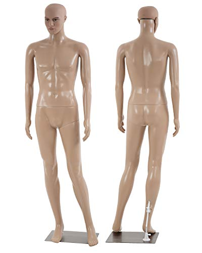 Full Body Male Mannequin Torso Dress Form Adjustable Dress Model Sewing Manikin Mannequin Stand Realistic Mannequin Display Metal Base Showcase Mannequin 73 Inches
