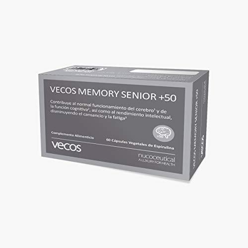 Vecos Memory Senior +50 60 cap Vegetales con DHA, EPA, fosfatidilcolina, fosfatidilserina, Te verde, taurina y Vitaminas - Favorece concentración, memoria y agilidad mental