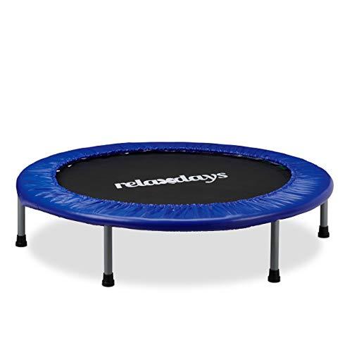 Relaxdays Trampolin Kinder faltbar, max. Personengewicht: 45 kg, Größe 102 cm, Indoor-Trampolin blau-schwarz