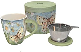 Lang Butterfly Daisy Tea Infuser Mug, Multicolor